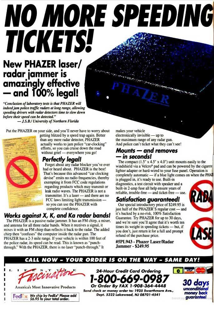 Radarblokkoló hirdetés egy régi újságból