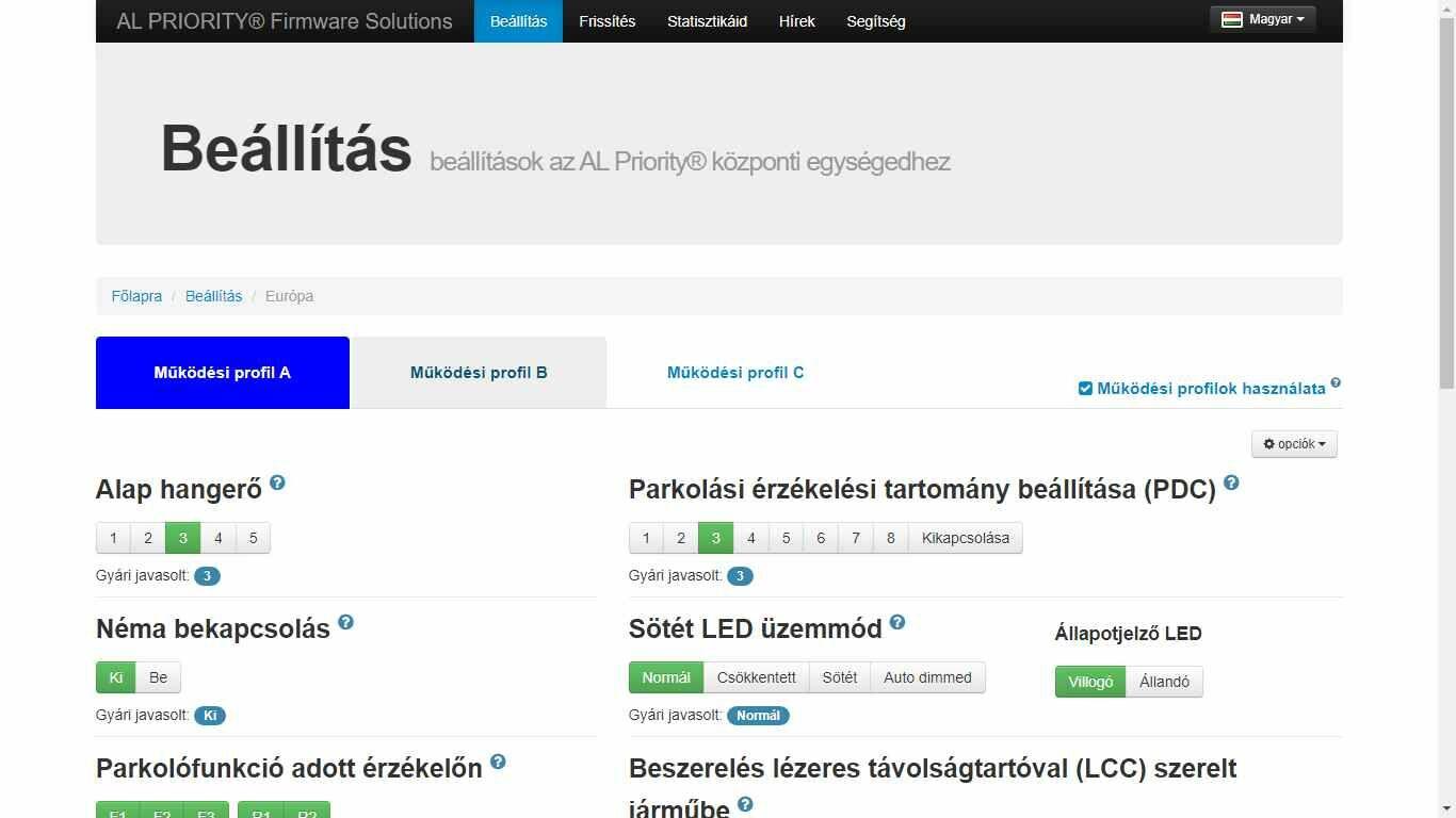 AL Priority lézerblokkoló szett működési profilok beállítása online felülete