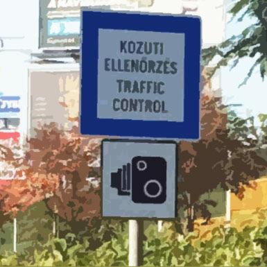 Közúti ellenőrzés traffic control tábla