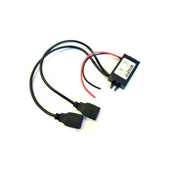 Két USB foglalatos direkt bekötő szett. Használható stick detektor tápellátására, autóban történő telefontöltésre a szivargyújtó felszabadítása mellett.