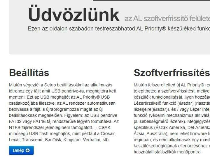 Alpupdate.com beállítások menü kiválasztása lézerblokkoló setuphoz