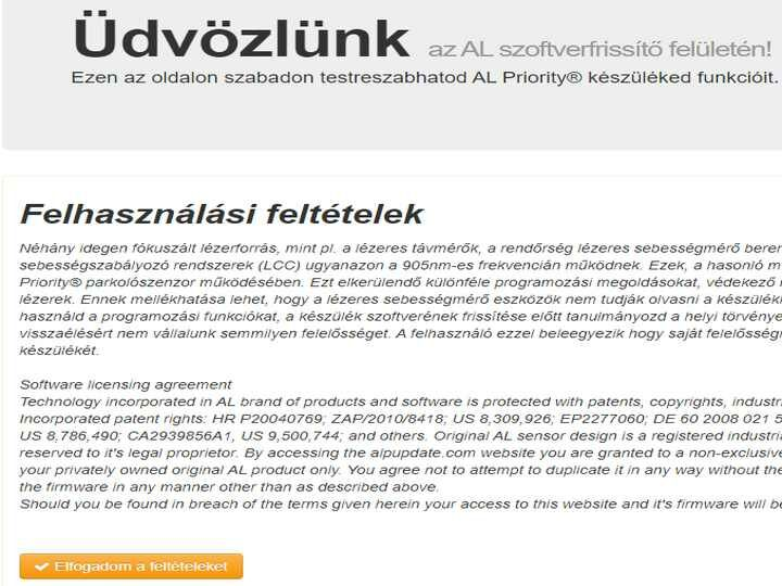 Alpupdate.com oldal belépő felülelte